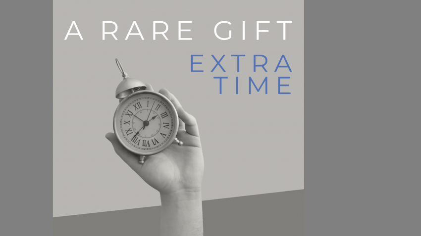 "A gray background with a hand holding a clock with a title that reads, ""A Rare Gift - Extra Time"""