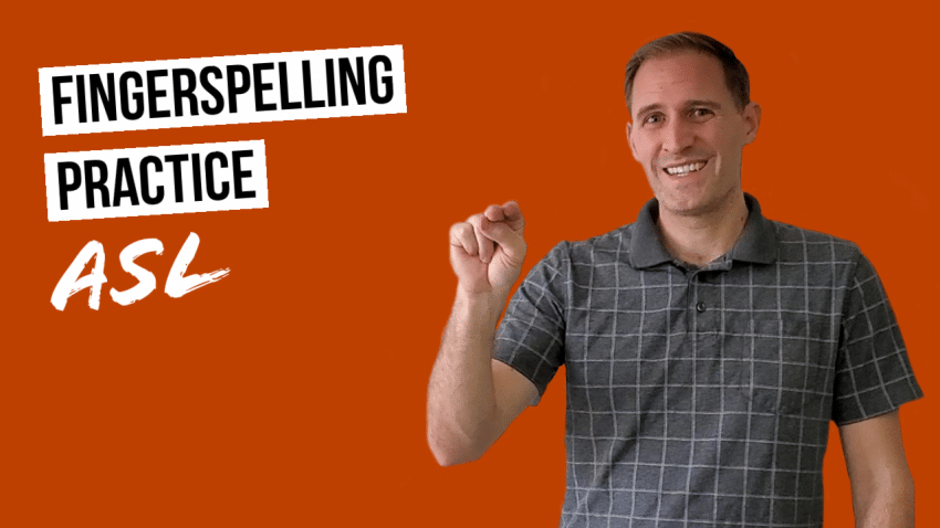 "White male using sign language and smiling against a solid dark red orange background. Text reads ""Fingerspelling Practice ASL"""