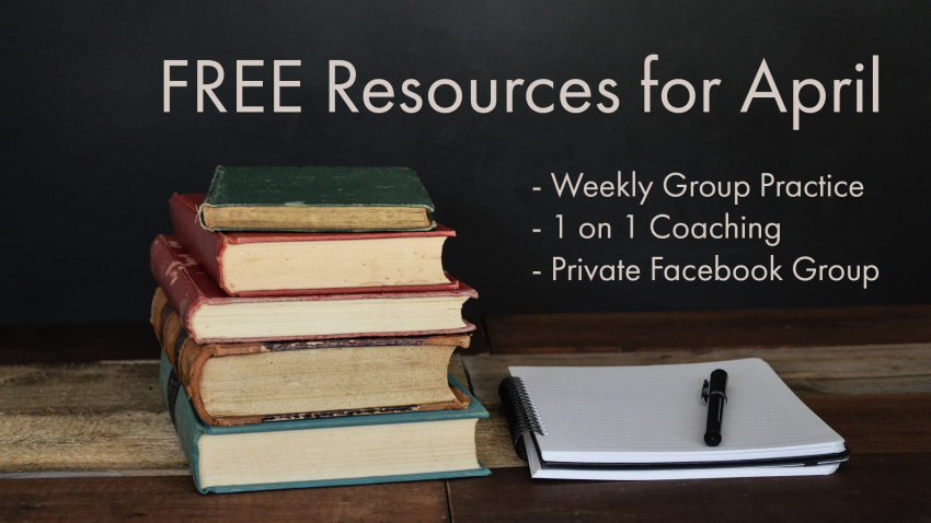 """Pile of books against a dark background with text that reads, """"Free resources for april"""""""